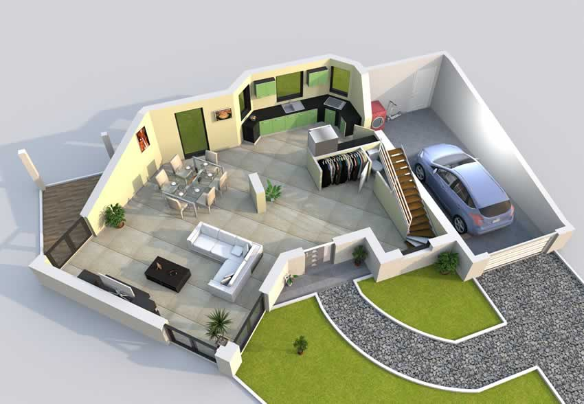 Plan maison 3d baticonfort for Plans en 3d